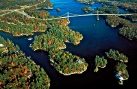 Fall Aerial of 1000 Islands Bridge